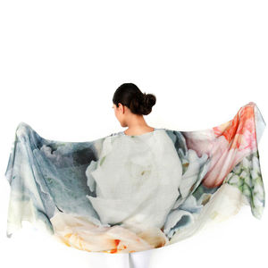 Womens Printed Peonies Cashmere Silk Scarf
