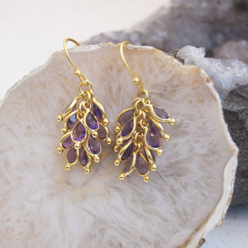Amethyst Cluster Drop Earrings
