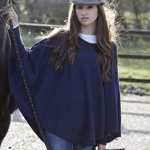 Reversible Colour Block Poncho - cosy knits and cashmere