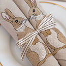 Set of Two Linen Rabbit Napkins
