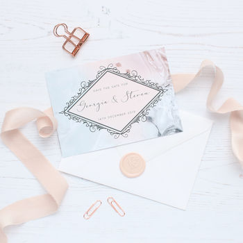 Marble Blush A6 Wedding Save The Date