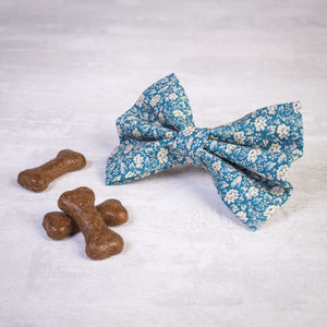 Slide On Collar Dog Bow / Bowtie In Blue Floral