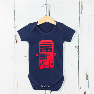 Personalised London Bus Babygrow