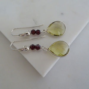 Lemon Quartz Garnet Drop Earrings In Silver