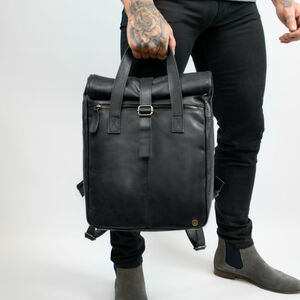 Vintage Style Black Roll Top Backpack For Laptop