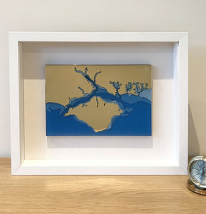 3D Nautical Chart Solid Brass And Clear Sea Blue Resin