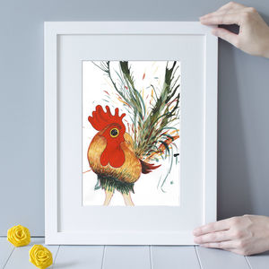 Colourful Cockerel Art Print - baby's room