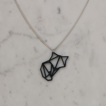 Origami Animal Geometric Fox Necklace