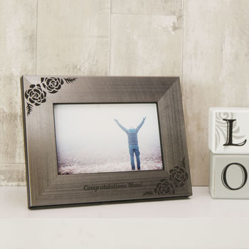 Rose Photo Frame in Pewter