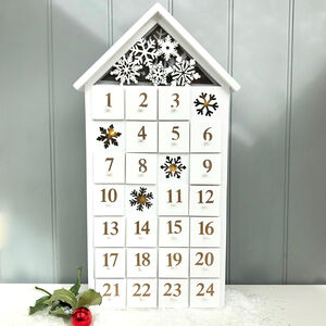 Light Up White Wooden Advent