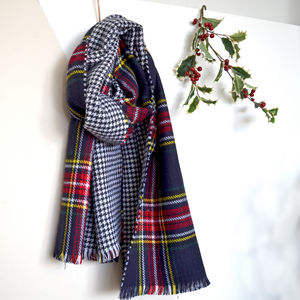 Reversible Tartan Blanket Scarf - gifts for her