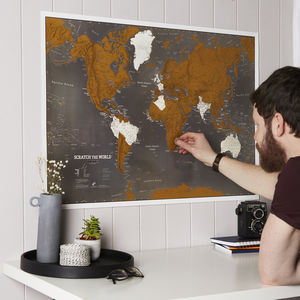 Scratch The World® Black Map Print With Coin - gifts for fathers