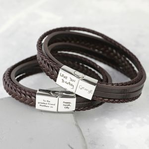 Men's Personalised Layered Leather Straps Bracelet