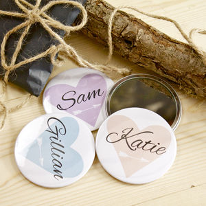 Personalised Pocket Mirror Favour Sets - wedding favours
