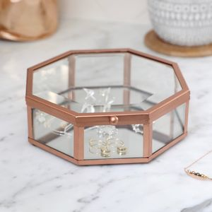 Copper And Glass Hexagonal Jewellery Box