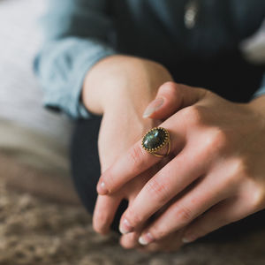 Gold Labradorite Gemstone Cocktail Ring