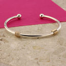 Serenade Silver And 9ct Gold Torq Bangle
