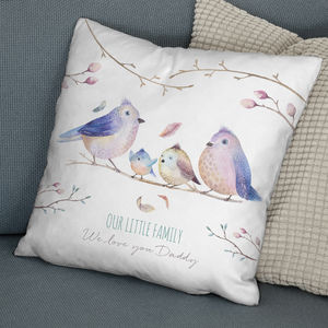 Personalised Bird Family Faux Suede Cushion - baby's room