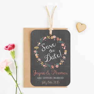 Floral Chalkboard Save The Date - your summer wedding