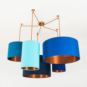Brushed Copper Lined Lamp Shade Choice Of Colours - statement lighting