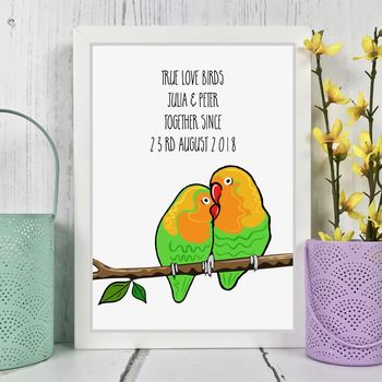 Love Birds Personalised Couples Print