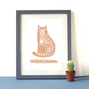 '10 Strokes Minimum' Cat Print - drawings & illustrations