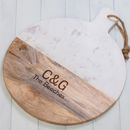 Personalised Round Mango Wood And Marble Chopping Board