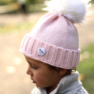 Pink Beanie Hat With Removable Faux Fur Pom Pom