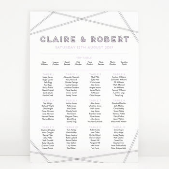 Geometric Wedding Table Plan Chart