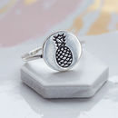 Pineapple Disc Sterling Silver Ring