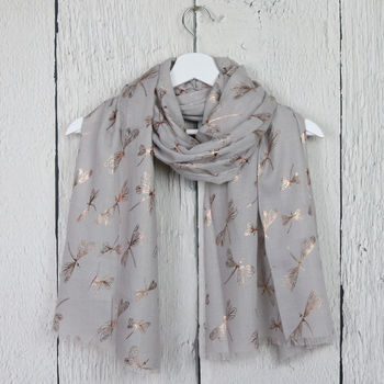 Rose Gold Dragonfly Print Scarf