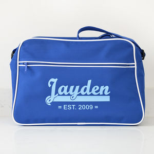 Personalised Blue Retro Shoulder Bag With Name - baby sleeping bags