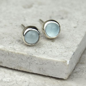 Aquamarine Solid Silver Studs March Birthstone - earrings