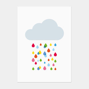 Multicoloured Rain Cloud Postcard - children's birthday cards