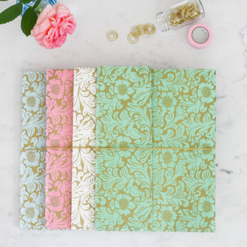 Recycled Gold Floral A4 Notebook