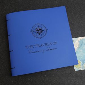 Compass Personalised Leather Travel Scrapbook Album