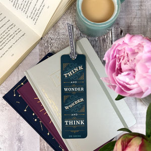 'Think And Wonder' Vintage Style Metal Bookmark