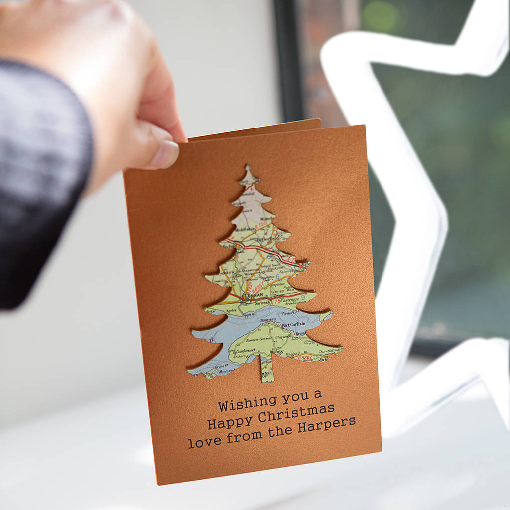 Personalised Copper Map Location Christmas Tree Card