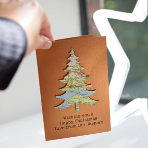 Personalised Copper Map Location Christmas Tree Card - cards