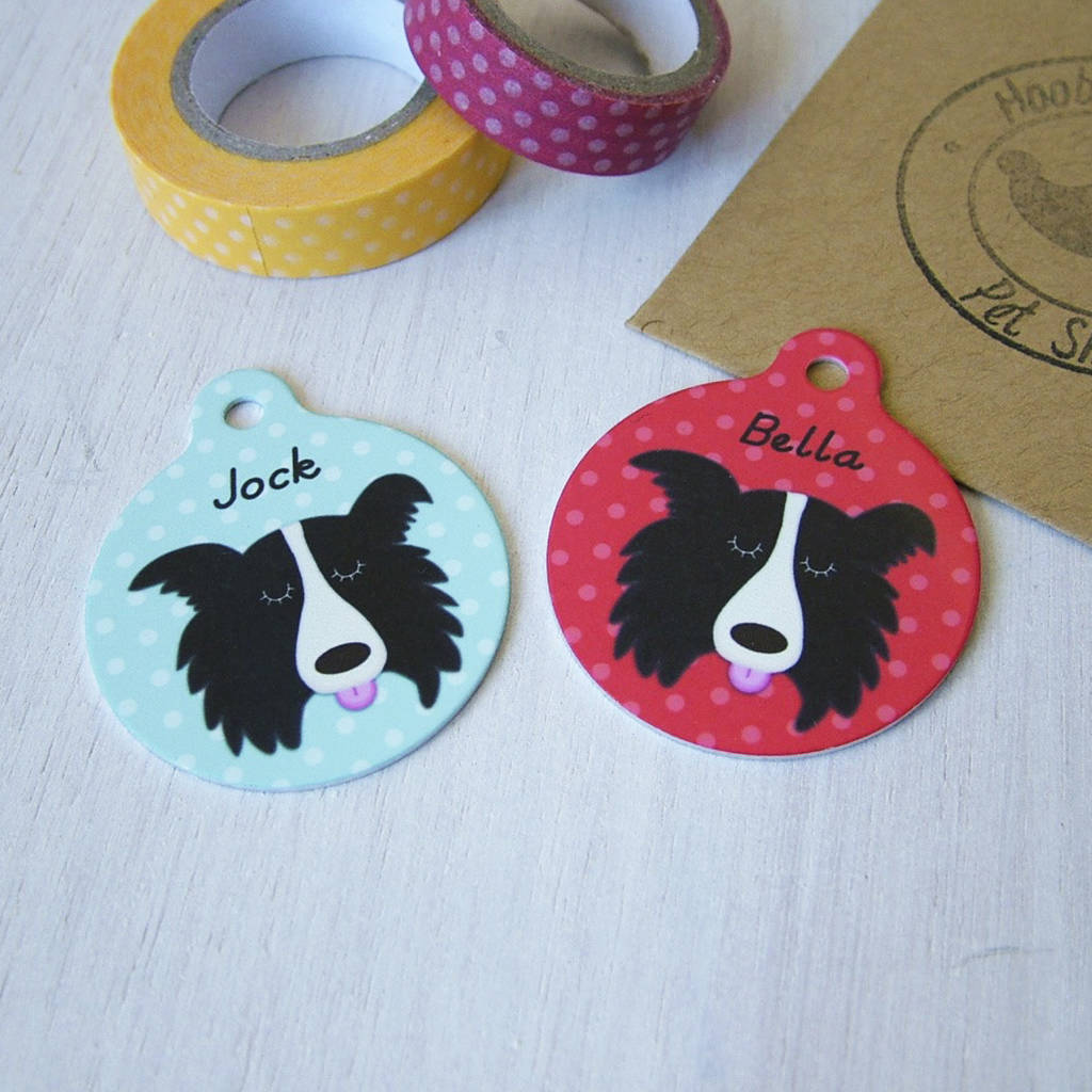Border collie personalised dog name id tag by hoobynoo border collie personalised dog name id tag sciox Choice Image