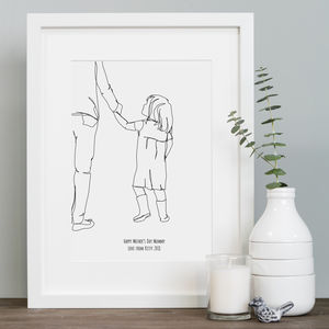 Bespoke Child's Continuous Line Portrait In Mount - posters & prints