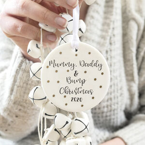 Personalised Mummy, Daddy And Bump Christmas Decoration