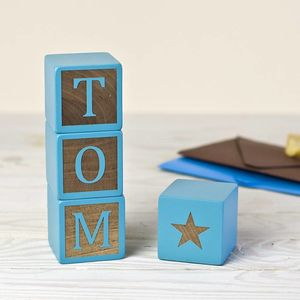 Personalised Baby Blue Keepsake Blocks
