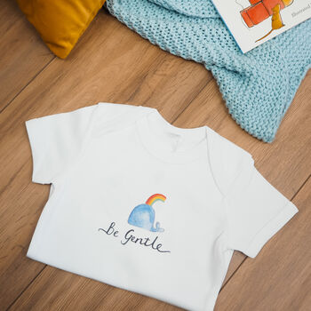 Be Gentle Baby Grow with hand drawn whale and typography - Personalised Baby Grow - Babyshower Gift