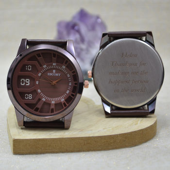 Brown Chunky Personalised Wrist Watch