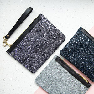 Stardust Glitter And Leather Clutch Bag - clutch bags