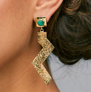 Zulu Zig Gold Malachite Earrings - new season