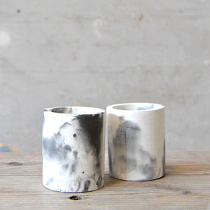 Concrete Marble Effect Cylinder Pot In Peach Or Grey - kitchen accessories