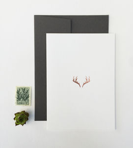 Rose Gold Antler Greetings Cards, Set Of Six - cards