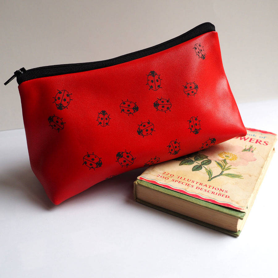 Soft Leather Ladybirds Make Up Bag